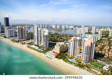 Miami skyline from above, Florida, USA