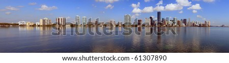 Miami Skyline Panorama and Biscayne Bay from the Rickenbacker Causeway