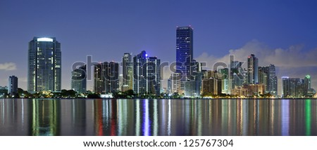 Miami Skyline. Panoramic image of Miami downtown skyline at night.