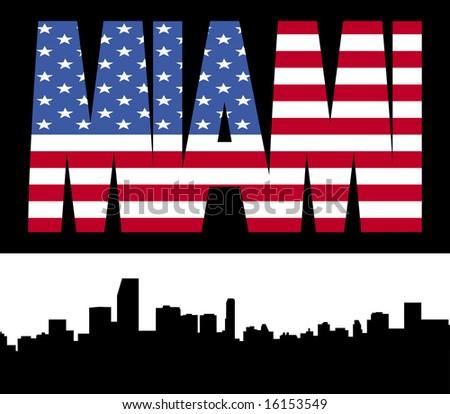 Miami skyline with Miami flag text illustration JPG