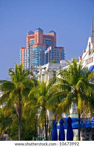 miami south beach cityscape with high rises against blue sky