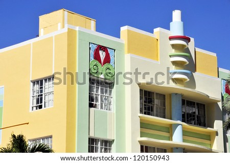 MIAMI  - SOUTH BEACH -  FLORIDA - USA - OCTOBER 29: Ocean drive buildings October 29 2012 in Miami Beach, Florida. Art Deco architecture in South Beach is one of the main tourist attractions in Miami.