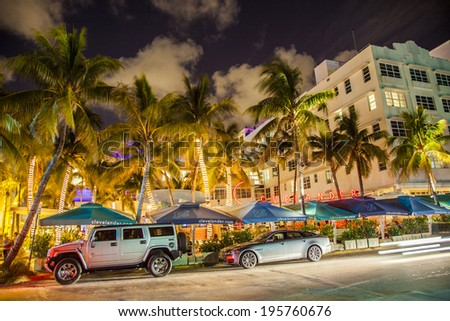 MIAMI, USA - August 2, 2010: people enjoy nightlife at Ocean drive in Miami, USA.  Art Deco Night-Life in South Beach is one of the main tourist attractions in Miami.