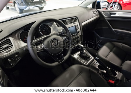 MIAMI, USA - SEPTEMBER 10, 2016: Volkswagen Golf on display during the Miami International Auto Show at the Miami Beach Convention Center. #486382444