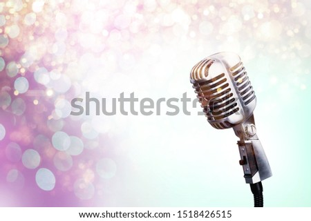 Mic on background announcement radio amusement announce announcer audience