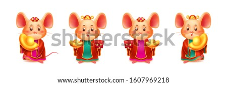 Mice with red envelope and golden ingot. Rat with gold and hongbao. Mouse for CNY or 2020 chinese new year. Set of isolated zodiac symbol for asian holiday. Festive papercut and greeting card element