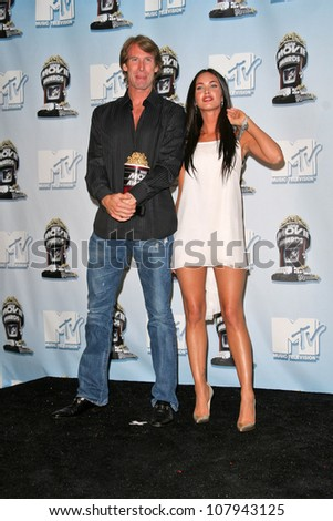 Michael Bay and Megan Fox at the 2008 MTV Movie Awards Press Room. Gibson Amphitheatre, Universal City, CA. 06-01-08