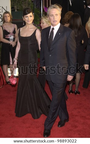 MICHAEL DOUGLAS & CATHERINE ZETA-JONES at the 61st Annual Golden Globe Awards at the Beverly Hilton Hotel, Beverly Hills, CA. January 25, 2004