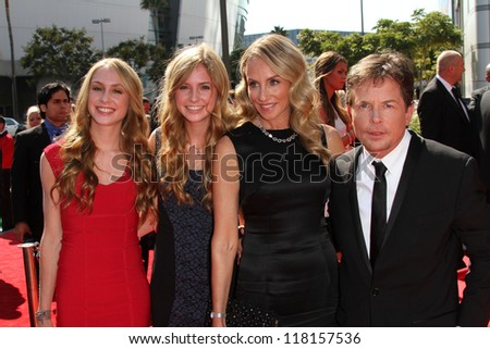 Michael J. Fox, Tracy Pollan and family at the 2012 Primetime Creative Arts Emmy Awards, Nokia Theatre L.A. Live, Los Angeles, CA 09-15-12