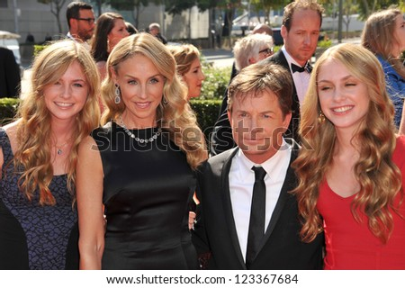 Michael J. Fox & wife Tracy Pollan & daughters at the 2012 Primetime Creative Emmy Awards at the Nokia Theatre, LA Live. September 15, 2012  Los Angeles, CA Picture: Paul Smith