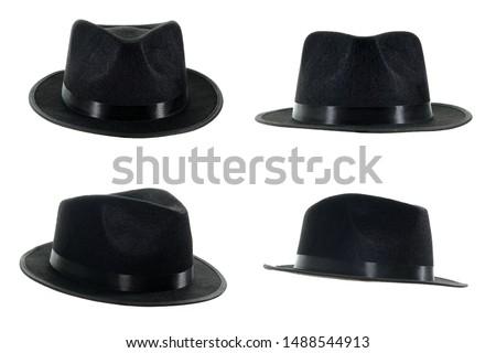 Michael Jackson black fedora hat isolated on a white background.  Stock photo ©