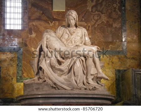 Michaelangelo marble sculpture of the Pieta in st. Peter's Cathedral (Rome)