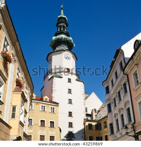 Michal Tower (Michalska Brana), Bratislava, Slovakia. Historic City Gate. - stock photo