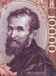 Michelangelo Buonarroti portrait on Italy 1000 lira banknote (1970) close up macro. Genius Italian sculptor, painter, architect, and poet of the High Renaissance.