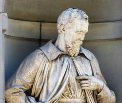 Michelangelo Buonarroti, statue in the Uffizi Gallery courtyard, Florence, Italy