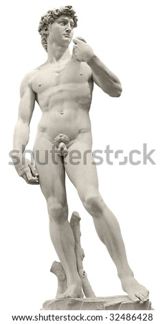 Michelangelo's David isolated on white by clipping path. Piazza della Signoria, Firenze, Italy.