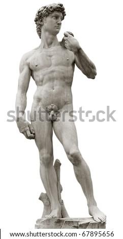 Michelangelo's David isolated on white with clipping path. Piazza della Signoria, Firenze, Italy.