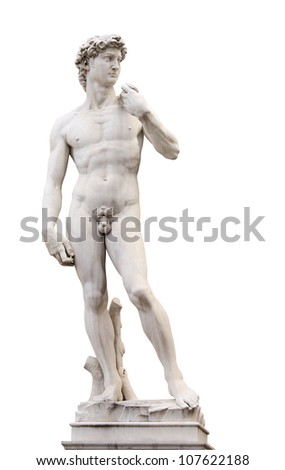 Michelangelo's David, Piazza della Signoria, Firenze, Italy. Isolated over white