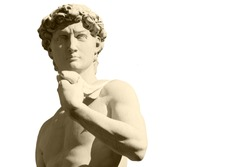 Michelangelo`s David statue on white background, with place for your design or text