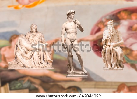 Michelangelo's statue of Moses, Pieta, David with blured background Ceiling of the Sistine chapel