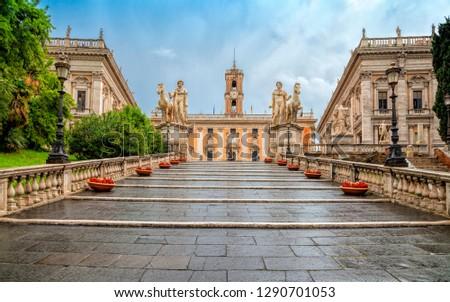 Michelangelo stairs to Capitoline square (Piazza del Campidoglio) on top of Capitoline Hill , Rome, Italy. Rome architecture and landmark. Rome cityscape. ストックフォト ©