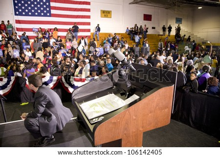 Michelle Obama's speaking podium during Barack Obama Presidential Rally, October 29, 2008 in Rocky Mount High School, North Carolina
