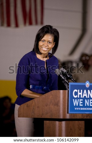 Michelle Obama speaking in front of African American audience during Barack Obama Presidential Rally, October 29, 2008 in Rocky Mount High School, North Carolina