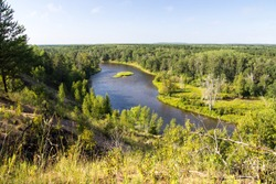 Michigan Au Sable River. Overlook view of the Au Sable River Valley. The river is a blue ribbon trout stream located in the Lower Peninsula of Michigan.