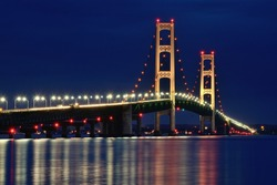 Michigan's Mackinac Bridge Lit at Night