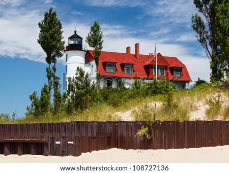 Michigan's Pointe Betsie Lighthouse with Beach Seawall