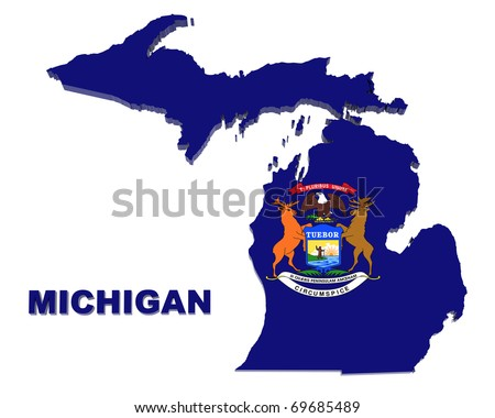 Michigan state, map with flag, isolated on white, with clipping path, 3d illustration
