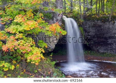 Michigan Waterfall with Autumn Color - Scott Falls