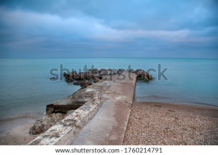 Michigan Winnetka breakwater blue water Zdjęcia stock ©