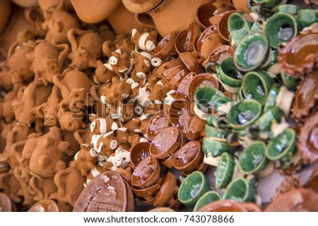 Shutterstock Michoacan handicrafts made of clay of different shapes, pork, casserole, vase