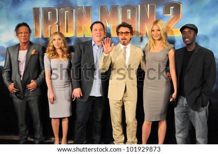 Mickey Rourke, Jon Favreau, Scarlett Johansson, Robert Downey Jr., Gwyneth Paltrow and Don Cheadle at the  'Iron Man 2' film Photocall, Four Seasons, Beverly Hills, CA. 04-23-10