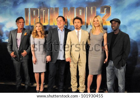 Mickey Rourke, Jon Favreau, Scarlett Johansson, Robert Downey Jr., Gwyneth Paltrow and Don Cheadle at the  'Iron Man 2' film Photocall, Four Seasons, Beverly Hills, CA. 04-23-10