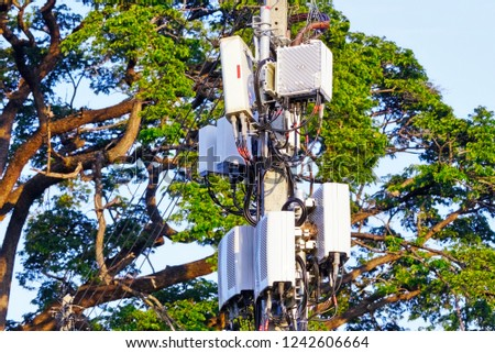 Micro cellular 3G, 4G, 5G. Base Station or Base Transceiver Station. Wireless Communication Antenna Transmitter. Development of communication system in urban area with sunrise in the morning. #1242606664