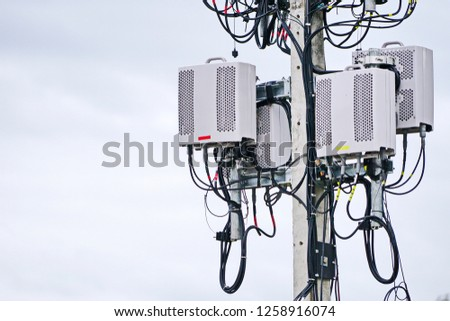 Micro cellular 3G, 4G, 5G. Base Station or Base Transceiver Station. Wireless Communication Antenna Transmitter. Development of communication system in urban area.  #1258916074