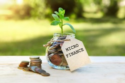 Micro finance. Glass jar with coins and a plant in it, with a label on the jar and a few coins on a wooden table, natural background. Finance and investment concept.