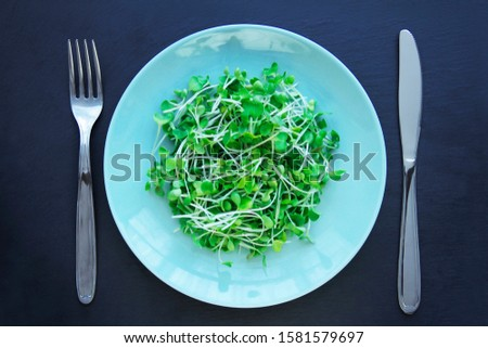 Micro greens arugula sprouts in a plate, knife and fork lie on the table. Healthy eating micro greens concept