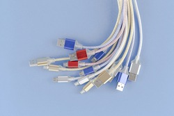 Micro USB (Universal Serial Bus) cables Connectors plugs with copy space universal standart for computer and Ports peripheral