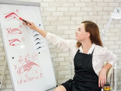 Microblading theoretical course. Successful female artist sitting at white board with eyebrow sketches, telling about new techniques.