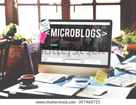 Microblogs Blogging Social Media Online Concept - Shutterstock ID 397460725