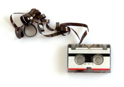Microcassette for voice recorder or answering machine on white background