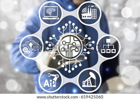 Microchip Industrial CPU Microcircuit Computing Engineering Modernization Business Internet Concept. Processor industry 4.0 development api automation chip semiconductor logic smart technology.