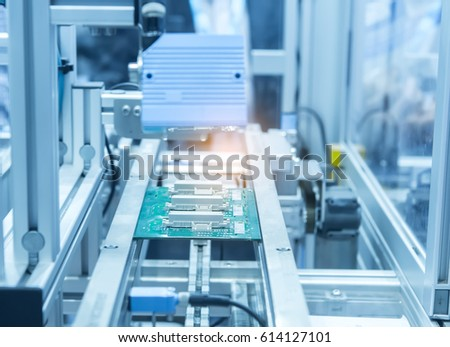 Microchip production factory. Technological process. Assembling the board. Chip.