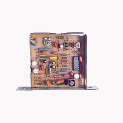 microcircuit of an old device, top view. Isolate on white background