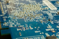 Microelectronics on a printed circuit board of a computer card.