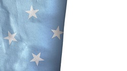 Micronesia flag isolated on white with copyspace 3D rendering