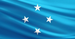 Micronesia flag with fabric texture